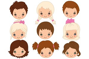 Vector Kids Faces