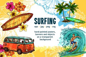 Surfing Sketch Set