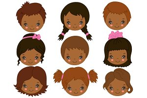 Vector African American Kids Faces