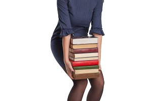 woman with books