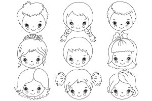 Vector Black & White Kids Faces