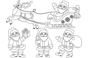 Vector Black & White Santa Claus Set