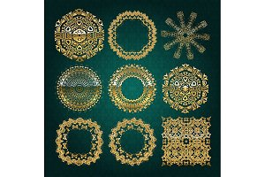 Gold mandala set. Turquoise version