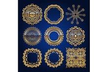 Gold mandala set. Blue version