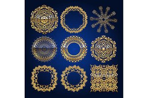 Gold mandala set. Blue version