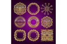 Gold mandala set. Purple version