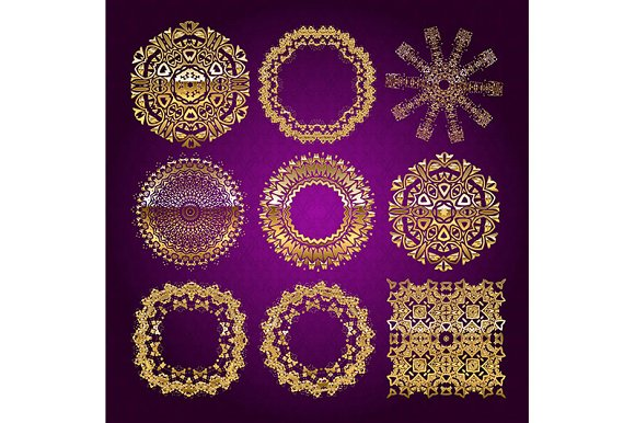 Gold mandala set. Purple version - Graphics