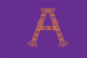 Ornament fonts alphabet A - Z pink