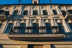 beautiful building with vintage elements balcony Kazan