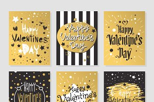 Valentines Day gold greeting cards