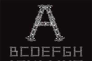 Ornament fonts alphabet A - Z white
