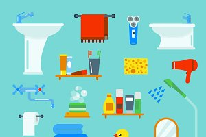 Bathroom and toilet vector set