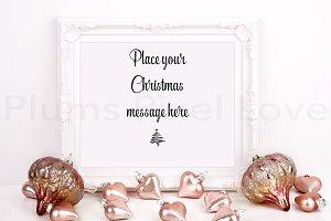 Christmas styled white frame mockup