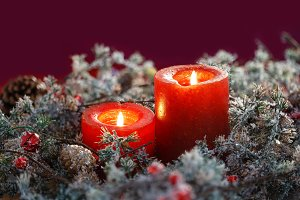 Christmas candles. Space for text