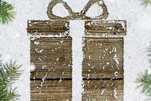 gift box on snow