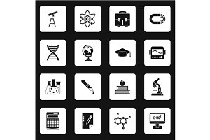 Science icons set, simple style