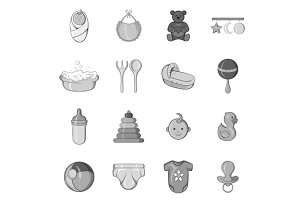 Baby care icons set