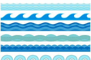 Waves flat style vector seamless