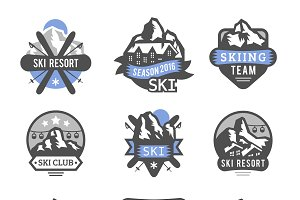 Ski resort logo emblems vector