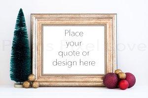 Christmas styled gold frame mockup