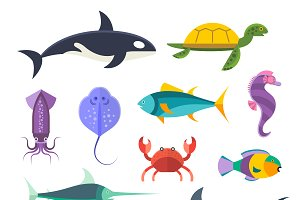 Vector sea marine fish and animals