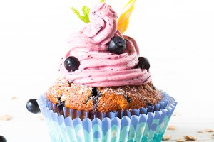 Blueberry Cupcakes decorated with whipped cream frosting