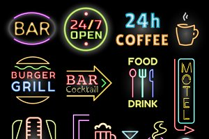 Light neon labels vector