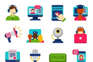 Video conference webinar icons