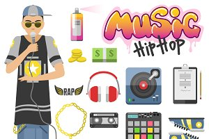 Rap hip hop vector symbols