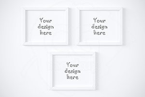 Set of 3 horizontal frame mockup