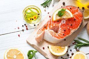 Raw salmon steak
