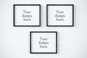 Set of 3 black frame 8x10 mockup