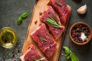 Raw beef steak