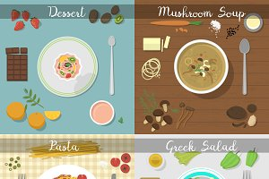 Different plates with food vector