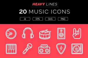 Heavy Lines – 20 Music Icons