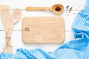 Cooking utensils on white wooden table