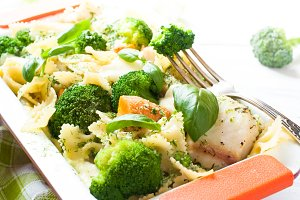 Casserole pasta with fish and broccoli