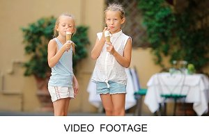 Cute kids enjoy real italian gelato