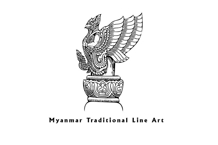 Myanmar Traditional Line Art Illustrations Creative Market