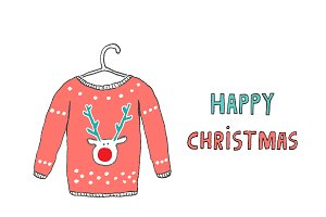 Happy Christmas Caribou jersey card