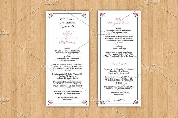 Wedding Program Template Invitation Templates Creative Market