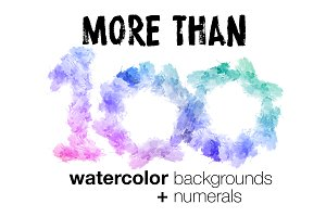 Watercolor backgrounds + numerals
