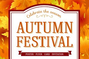 Fall leaves autumn festival poster.