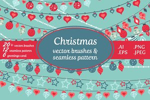 Christmas vector brushes & pattern