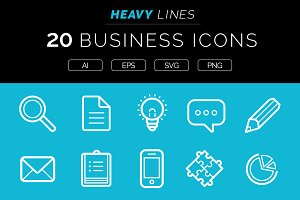 Heavy Lines – 20 Business Icons