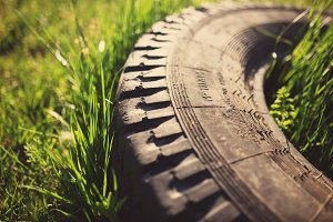 Old tire in grass