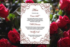 Printable Wedding Menu Card Template