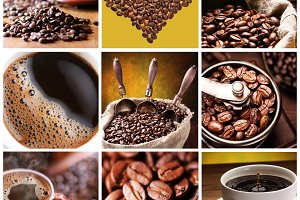 Collection of Coffee. Nine images of different types of coffee and accessories.