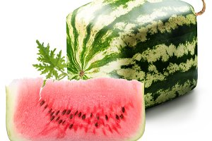 Cubic watermelon with slice on a white background.