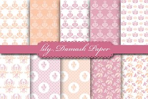 Lily Damask Peach & Mallow Paper